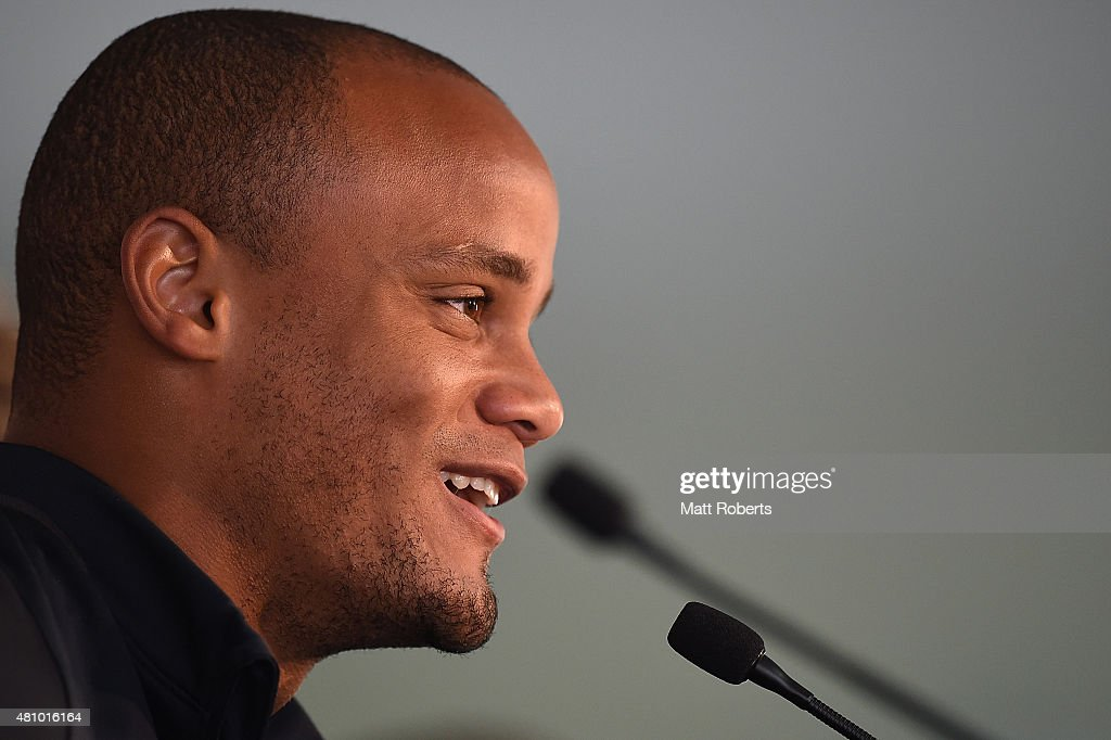 <a gi-track='captionPersonalityLinkClicked' href=/galleries/search?phrase=Vincent+Kompany&family=editorial&specificpeople=504694 ng-click='$event.stopPropagation()'>Vincent Kompany</a> speaks during a press conference on July 17, 2015 on the Gold Coast, Australia.