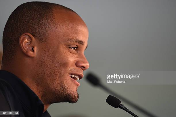 Vincent Kompany speaks during a press conference on July 17 2015 on the Gold Coast Australia