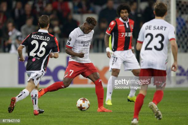 Vincent Koziello of Nice Aaron Leya Iseka of Zulte Waregem during the UEFA Europa League match between Nice v Zulte Waregem at the Allianz Riviera on...