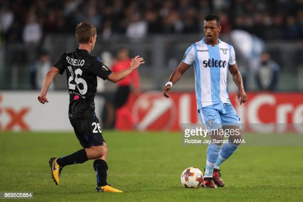 Vincent Koziello of Nice and Nani of Lazio during the UEFA Europa League group K match between Lazio Roma and OGC Nice at Stadio Olimpico on November...