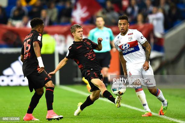 Vincent Koziello of Nice Nabil Fekir of Lyon during the Ligue 1 match between Olympique Lyonnais and OGC Nice at Stade des Lumieres on May 20 2017 in...