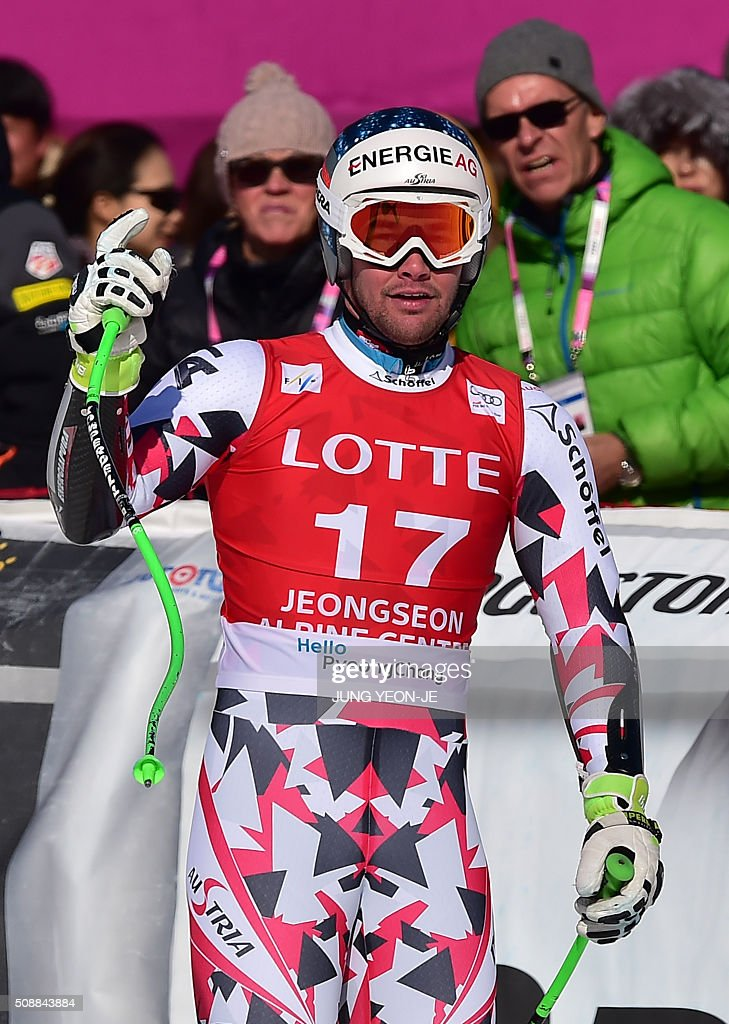 Vincent Kriechmayr of Austria reacts at the finish line during the 8th men's super G event at the FIS Alpine Ski World Cup at the Jeongseon Alpine Centre in Jeongseon county, some 150 kms east of Seoul, on February 7, 2016. The FIS Ski Men's World Cup runs from February 6 to 7 and is the first official test event for the Pyeongchang 2018 Winter Olympics. AFP PHOTO / JUNG YEON-JE / AFP / JUNG YEON-JE