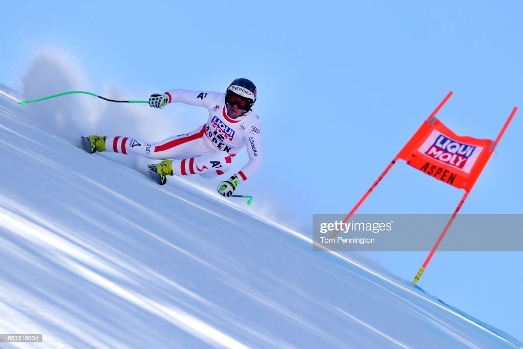 Vincent Kriechmayr of Austria skis during a training run for the men's downhill at the Audi FIS Ski World Cup Finals at Aspen Mountain on March 14, 2017 in Aspen, Colorado.