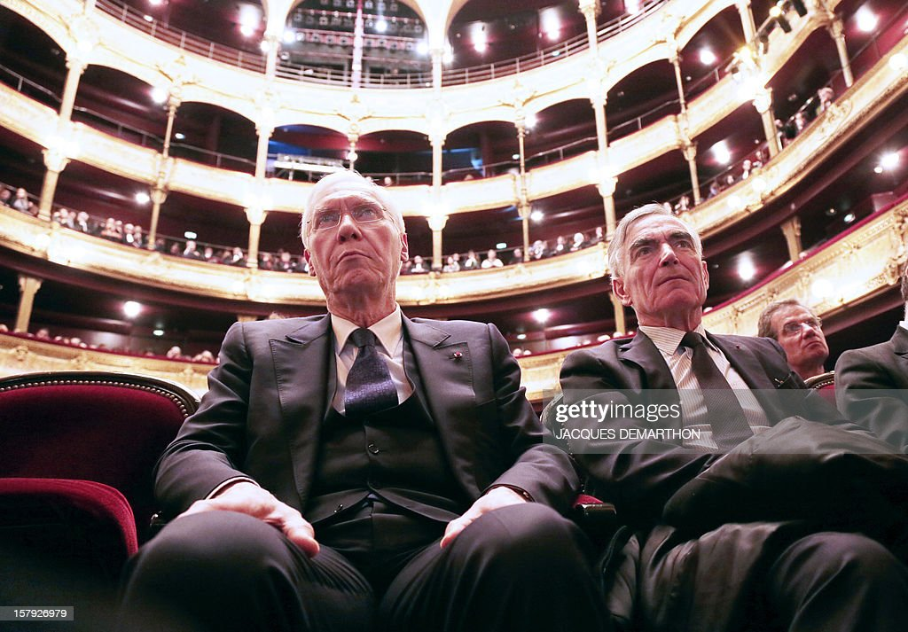 Vincent Lamanda (L) first president at the Court of Cassation and general prosecutor under the Court of Cassation Jean-Claude Marin (R) attend Paris' bar opening ceremony on December 7, 2012 in Paris .