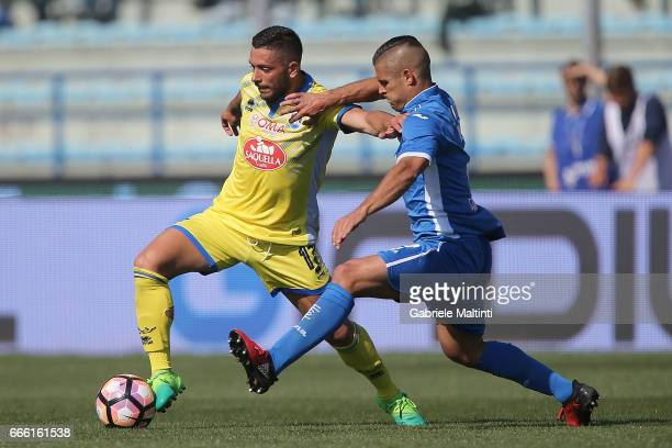Vincent Laurini of Empoli Fc battles for the ball with Gianluca Caprari of Pescara Calcio during the Serie A match between Empoli FC and Pescara...