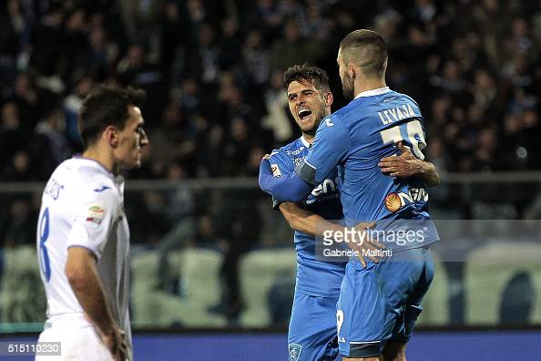 Vincent Laurini of Empoli FC celebrates after scoring a goal during the Serie A match between Empoli FC and UC Sampdoria at Stadio Carlo Castellani...