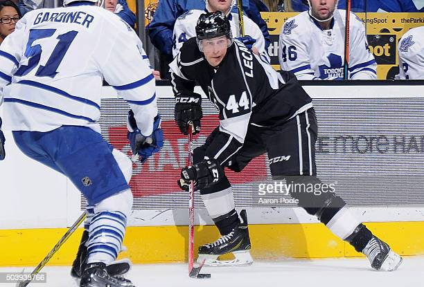 Vincent Lecavalier of the Los Angeles Kings controls the puck against Jake Gardiner of the Toronto Maple Leafs on January 7 2016 at Staples Center in...