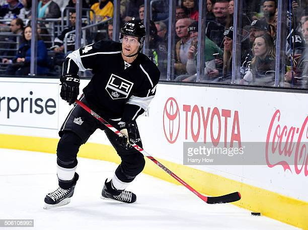 Vincent Lecavalier of the Los Angeles Kings looks to pass during the game against the Toronto Maple Leafs at Staples Center on January 7 2016 in Los...