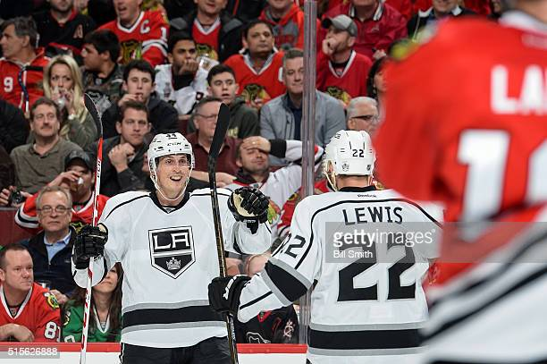 Vincent Lecavalier of the Los Angeles Kings reacts after scoring in the second period of the NHL game against the Chicago Blackhawks at the United...