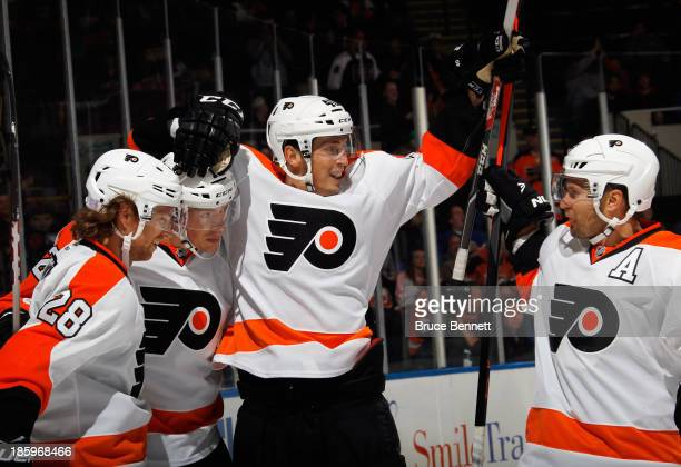 Vincent Lecavalier of the Philadelphia Flyers celebrates his second goal at 1813 of the first period against the New York Islanders at the Nassau...