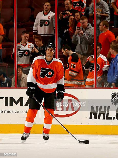 Vincent Lecavalier of the Philadelphia Flyers reacts after missing his shot during the overtime shoot out against the Washington Capitals at Wells...
