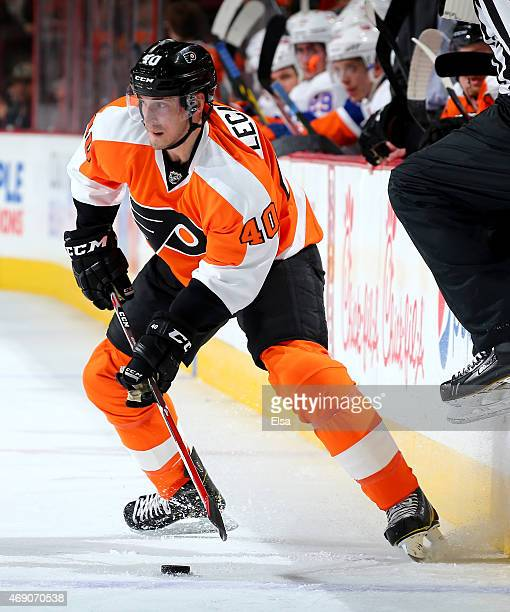Vincent Lecavalier of the Philadelphia Flyers takes the puck in the third period against the New York Islanders on April 7 2015 at the Wells Fargo...