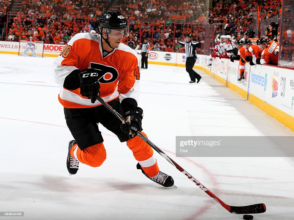 <a gi-track='captionPersonalityLinkClicked' href=/galleries/search?phrase=Vincent+Lecavalier&family=editorial&specificpeople=201915 ng-click='$event.stopPropagation()'>Vincent Lecavalier</a> #40 of the Philadelphia Flyers takes the puck in the third period against the Carolina Hurricanes at Wells Fargo Center on April 13, 2014 in Philadelphia, Pennsylvania.The Carolina Hurricanes defeated the Philadelphia Flyers 6-5 in an overtime shootout.
