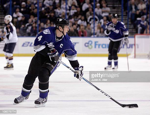 Vincent Lecavalier of the Tampa Bay Lightning carries the puck against the Atlanta Thrashers at St Pete Times Forum on January 23 2011 in Tampa...