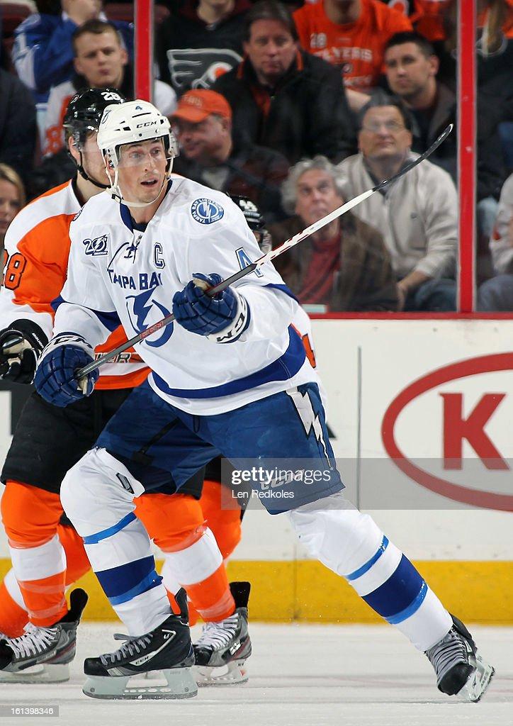 Vincent LeCavalier #4 of the Tampa Bay Lightning skates against the Philadelphia Flyers on February 5, 2013 at the Wells Fargo Center in Philadelphia, Pennsylvania.