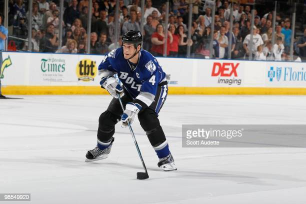 Vincent Lecavalier of the Tampa Bay Lightning skates with the puck against the Florida Panthers at the St Pete Times Forum on April 10 2010 in Tampa...
