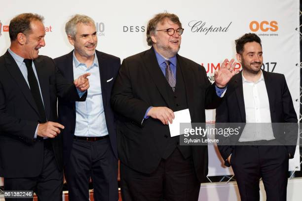Vincent Lindon Alfonso Cuarón Guillermo del Toro and Juan Antonio Bayona attends opening ceremony of 9th Film Festival Lumiere In Lyon on October 14...