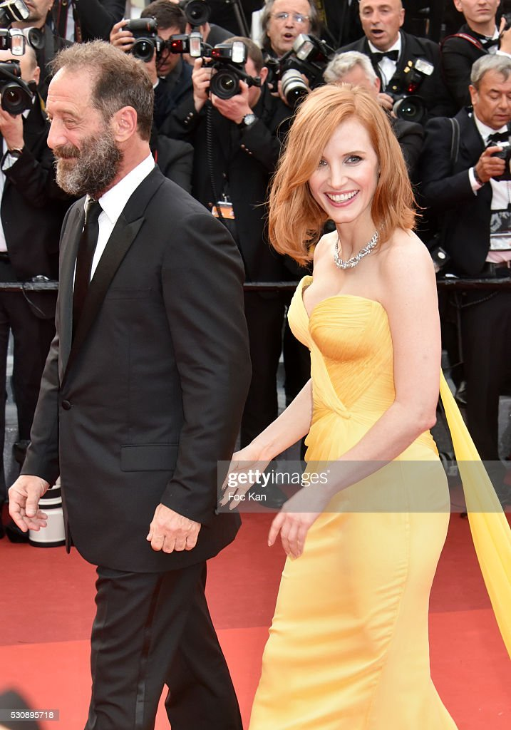Vincent Lindon and Jessica Chastain attend the screening of 'Cafe Society' at the opening gala of the annual 69th Cannes Film Festival at Palais des Festivals on May 11, 2016 in Cannes, France.