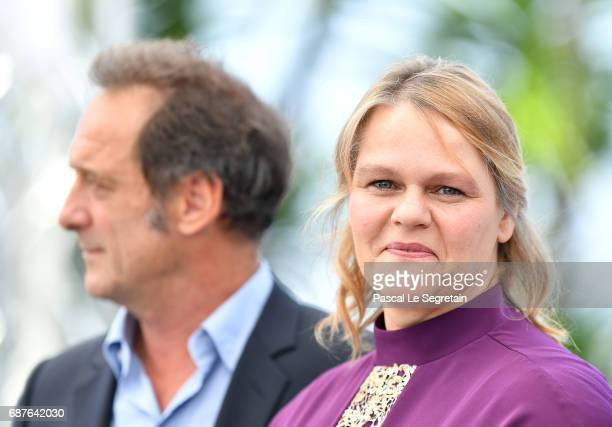 Vincent Lindon and Severine Caneele attend the 'Rodin' photocall during the 70th annual Cannes Film Festival at Palais des Festivals on May 24 2017...