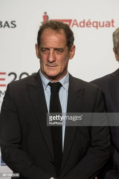 Vincent Lindon pose in front of the photographers when he arrives at 9th Film Festival Lumiere In Lyon on October 14 2017 in Lyon France