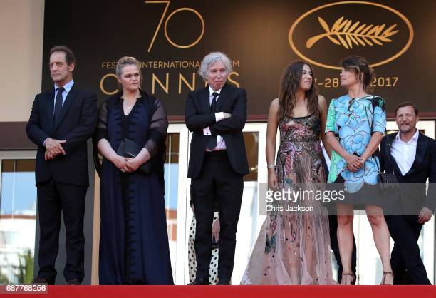 Vincent Lindon Severine Caneele director Jacques Doillon Izia Higelin and Kristina Larsen depart after the 'Rodin' screening during the 70th annual...