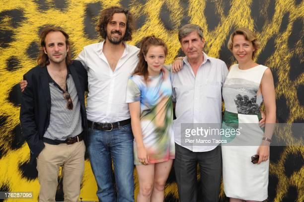 Vincent Macaigne Guillaume Brac Solène Rigot Bernard Menez and Alice Girard attend 'Tonnerre' photocall during the 66th Locarno Film Festival on...