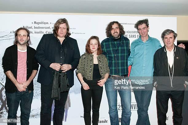 Vincent Macaigne Rover Solene Rigot Guillaume Brac guest and Bernard Menez attend the Paris premiere of 'Tonnerre' on January 28 2014 in Paris France