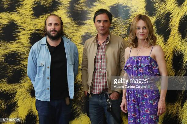 Vincent Macaigne Samuel Benchetrit and Vanessa Paradis pose during the 'Chien' photocall during the 70th Locarno Film Festival on August 7 2017 in...