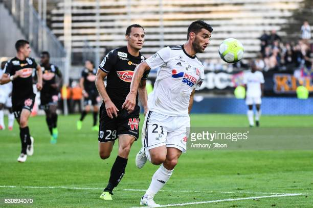 Vincent Manceau of Angers and Charly Charrier of Amiens during the Ligue 1 match between Amiens SC and Angers SCO at Stade de la Licorne on August 12...
