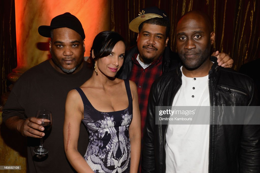Vincent Mason, David Jude Jolicoeur and Kelvin Mercer of De La Soul pose with Padma Lakshmi at the Endometriosis Foundation of America's Celebration of The 5th Annual Blossom Ball at Capitale on March 11, 2013 in New York City.