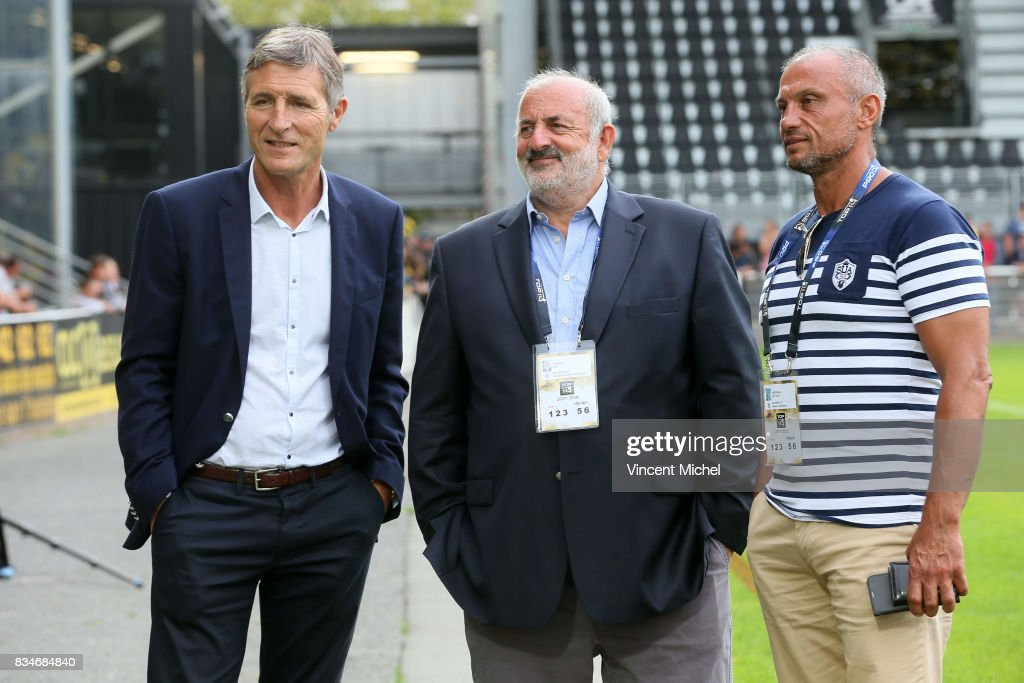 Vincent Merling, president of La Rochelle, Jean-Francois Fontenaud and Alain Tingaud, president of Agen during the pre-season match between Stade Rochelais and SU Agen on August 17, 2017 in La Rochelle, France.