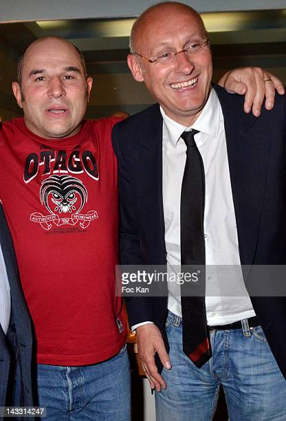 Vincent Moscato and Bernard Laporte attend Vincent Moscato 'One Man Chaud' Generale at L'Olympia on April 23 2012 in Paris France