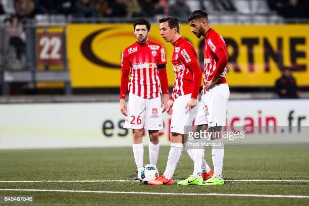 Vincent Muratori of Nancy and Benoit Pedretti of Nancy and Youssef Ait Bennasser of Nancy during the French Ligue 1 match between Nancy and Toulouse...