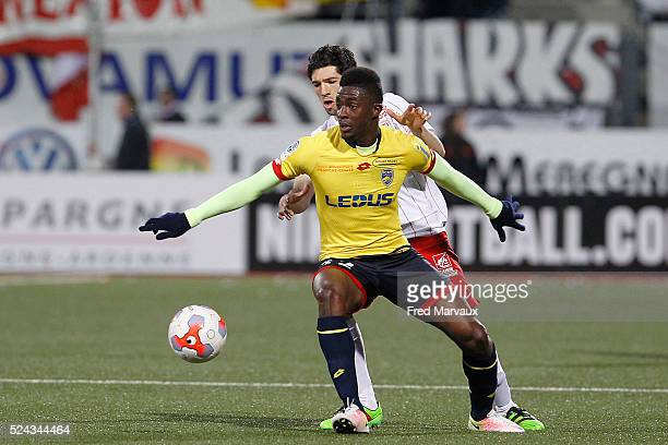 Vincent Muratori of Nancy and Hadi Sacko of Sochaux during the french ligue 2 match between As Nancy Lorraine and Fc Sochaux on April 25 2016 in...