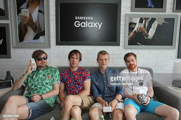 Vincent Neff Jimmy Dixon Tommy Grace and David Maclean of Django Django pose at the Samsung Galaxy Artist Lounge during Lollapalooza 2015 at Grant...