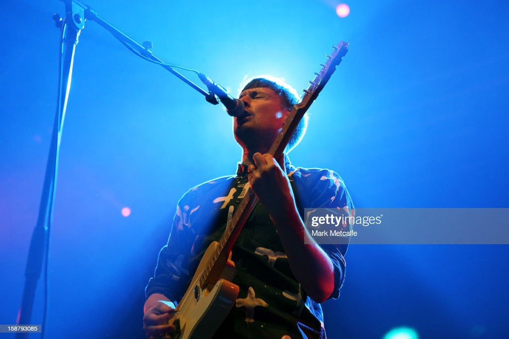 Vincent Neff of Django Django performs live on stage at The Falls Music and Arts Festival on December 29 2012 in Lorne Australia