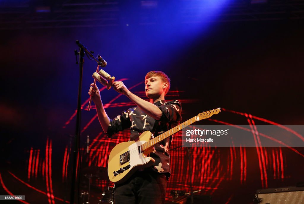 Vincent Neff of Django Django performs live on stage at The Falls Music and Arts Festival on December 29, 2012 in Lorne, Australia.