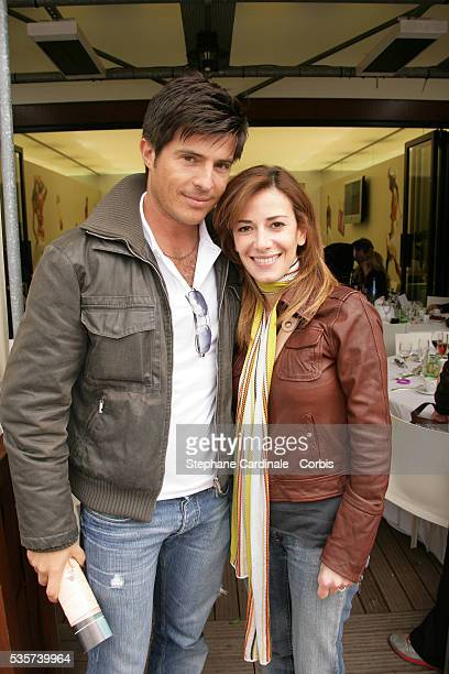 Vincent Niclo and Elsa Fayer visit Roland Garros village during the 2006 French Open tennis