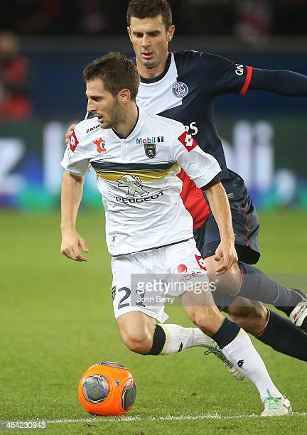 Vincent Nogueira of Sochaux and Thiago Motta of PSG in action during the french Ligue 1 match between Paris SaintGermain FC and FC Sochaux...