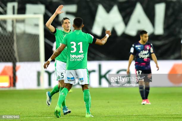 Vincent Pajot of Saint Etienne celebrates after scoring with Habib Maiga of Saint Etienne during the Ligue 1 match between As Saint Etienne and...