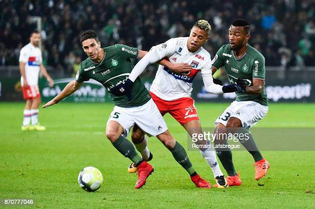 Vincent Pajot of Saint Etienne Mariano Diaz of Lyon and Habib Maiga of Saint Etienne during the Ligue 1 match between AS Saint Etienne and Olympique...