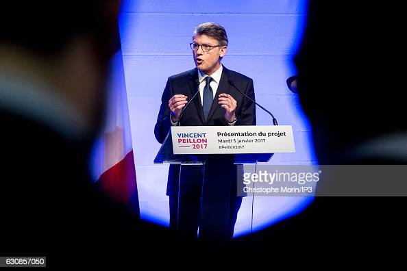 Vincent Peillon candidate for the Primary Election of the Left wing for the 2017 French Presidential Election delivers a speech to present his...