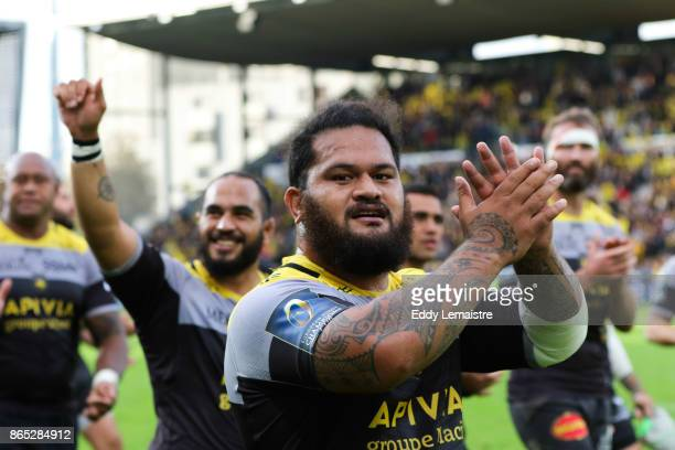 Vincent Pelo of La Rochelle celebrates at the end of the match during the European Champions Cup match between Stade Rochelais and Ulster on October...