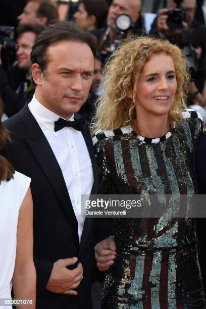 Vincent Perez and Delphine de Vigan attend the 'Based On A True Story' screening during the 70th annual Cannes Film Festival at Palais des Festivals...