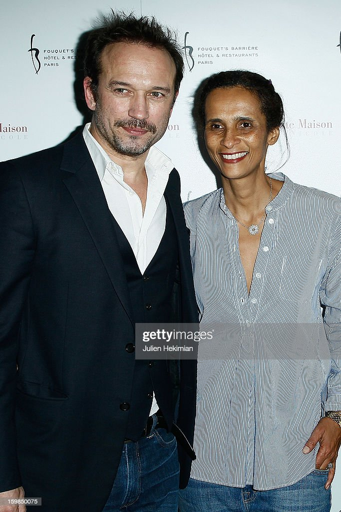 Vincent Perez and his wife Karine attend 'La Petite Maison De Nicole' Inauguration Photocall at Hotel Fouquet's Barriere on January 21, 2013 in Paris, France.