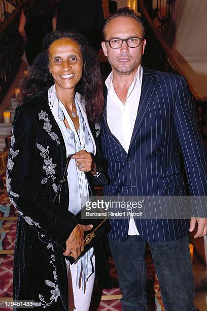 Vincent Perez and his wife Karine Silla attend Lui Magazine Launch Party held at Foch Avenue in Paris at on September 3 2013 in Paris France