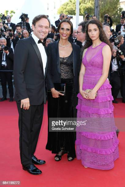 Vincent Perez and Karine Silla and Iman Perez attend the 'Ismael's Ghosts ' screening and Opening Gala during the 70th annual Cannes Film Festival at...