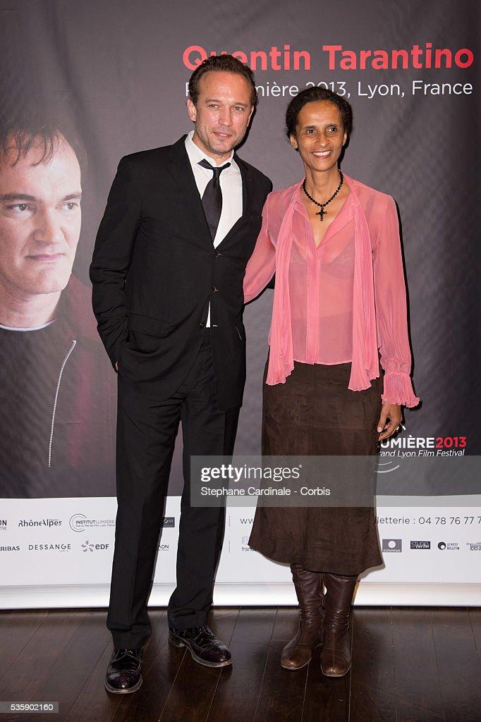 Vincent Perez and Karine Silla attend the Tribute to Quentin Tarantino, during the 5th Lumiere Film Festival, in Lyon.