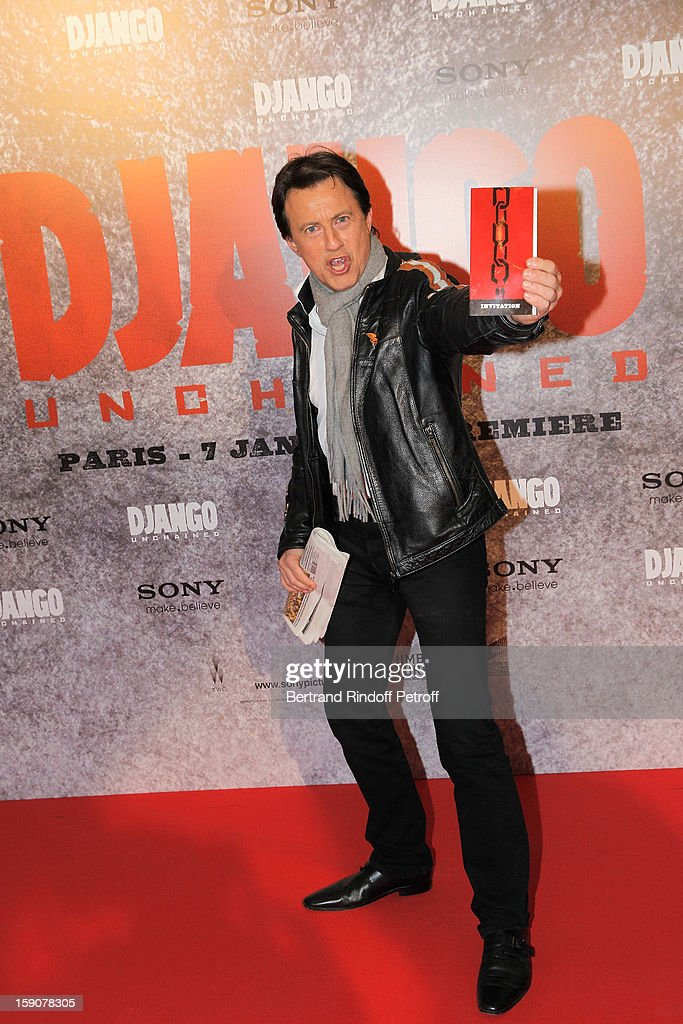 Vincent Perrot attends a photocall for 'Django Unchained' at Le Grand Rex on January 7, 2013 in Paris, France.