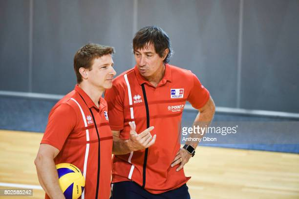 Vincent Pichette assistant coach and Laurent Tillie coach of France during a training session of the French volleyball national team on June 28 2017...